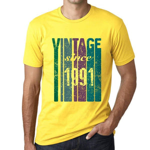 1991 Vintage Since 1991 Mens T-Shirt Yellow Birthday Gift 00517 - Yellow / Xs - Casual