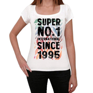 1995 Super No.1 Since 1995 Womens T-Shirt White Birthday Gift 00505 - White / Xs - Casual