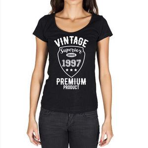 1997 Vintage Superior Black Womens Short Sleeve Round Neck T-Shirt 00091 - Black / Xs - Casual