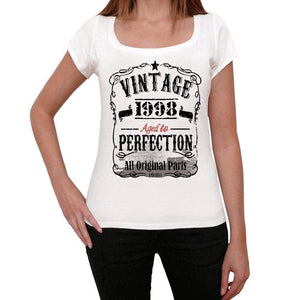 1998 Vintage Aged To Perfection Womens T-Shirt White Birthday Gift 00491 - White / Xs - Casual