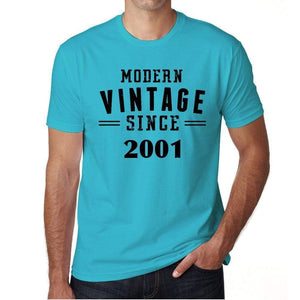 2001 Modern Vintage Blue Mens Short Sleeve Round Neck T-Shirt 00107 - Blue / S - Casual