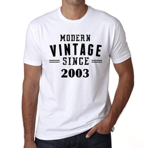 2003 Modern Vintage White Mens Short Sleeve Round Neck T-Shirt 00113 - White / S - Casual