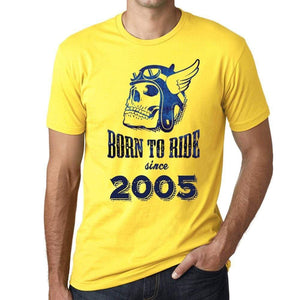 2005 Born To Ride Since 2005 Mens T-Shirt Yellow Birthday Gift 00496 - Yellow / Xs - Casual