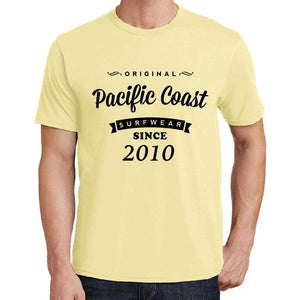 2010 Pacific Coast Yellow Mens Short Sleeve Round Neck T-Shirt 00105 - Yellow / S - Casual