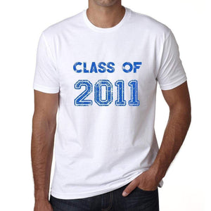 2011 Class Of White Mens Short Sleeve Round Neck T-Shirt 00094 - White / S - Casual