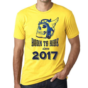 2017 Born To Ride Since 2017 Mens T-Shirt Yellow Birthday Gift 00496 - Yellow / Xs - Casual