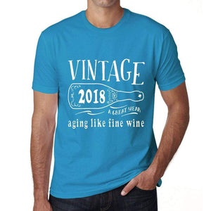 2018 Aging Like A Fine Wine Mens T-Shirt Blue Birthday Gift 00460 - Blue / Xs - Casual