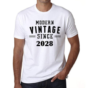 2028 Modern Vintage White Mens Short Sleeve Round Neck T-Shirt 00113 - White / S - Casual