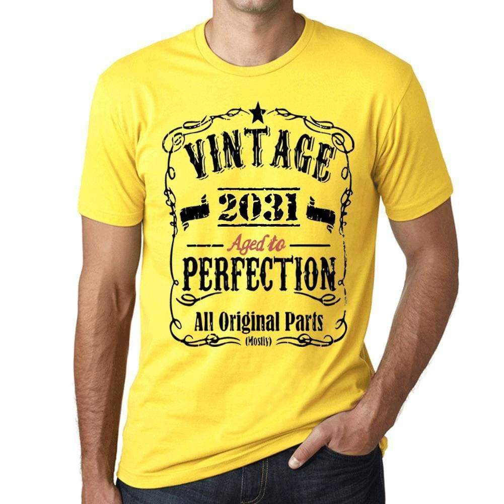 2031 Vintage Aged To Perfection Mens T-Shirt Yellow Birthday Gift 00487 - Yellow / Xs - Casual