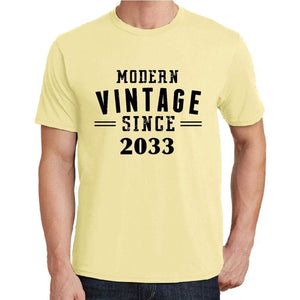 2033 Modern Vintage Yellow Mens Short Sleeve Round Neck T-Shirt 00106 - Yellow / S - Casual