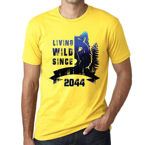 2044 Living Wild 2 Since 2044 Mens T-Shirt Yellow Birthday Gift 00516 - Yellow / Xs - Casual