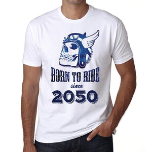 2050, Born to Ride Since 2050 Men's T-shirt White Birthday Gift 00494 - Ultrabasic