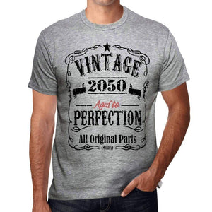 2050 Vintage Aged To Perfection Mens T-Shirt Grey Birthday Gift 00489 - Grey / S - Casual