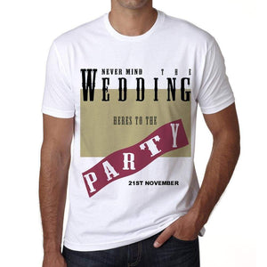 21St November Wedding Wedding Party Mens Short Sleeve Round Neck T-Shirt 00048 - Casual