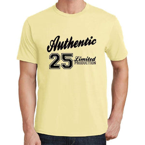 25 Authentic Yellow Mens Short Sleeve Round Neck T-Shirt - Yellow / S - Casual