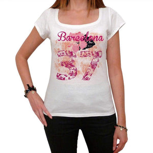 37 Barcelona City With Number Womens Short Sleeve Round White T-Shirt 00008 - Casual