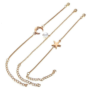 3pcs Women Bracelets Anklets Set Simple Stylish Chains of Pearl Star Moon Shape Bracklet & Anklet Jewelry Accessories - Ultrabasic