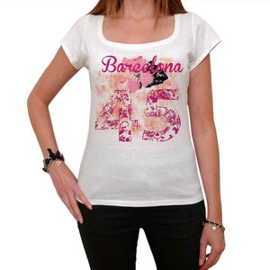 45 Barcelona City With Number Womens Short Sleeve Round White T-Shirt 00008 - White / Xs - Casual