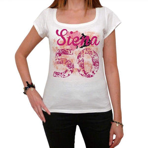50 Siena City With Number Womens Short Sleeve Round Neck T-Shirt 100% Cotton Available In Sizes Xs S M L Xl. Womens Short Sleeve Round Neck