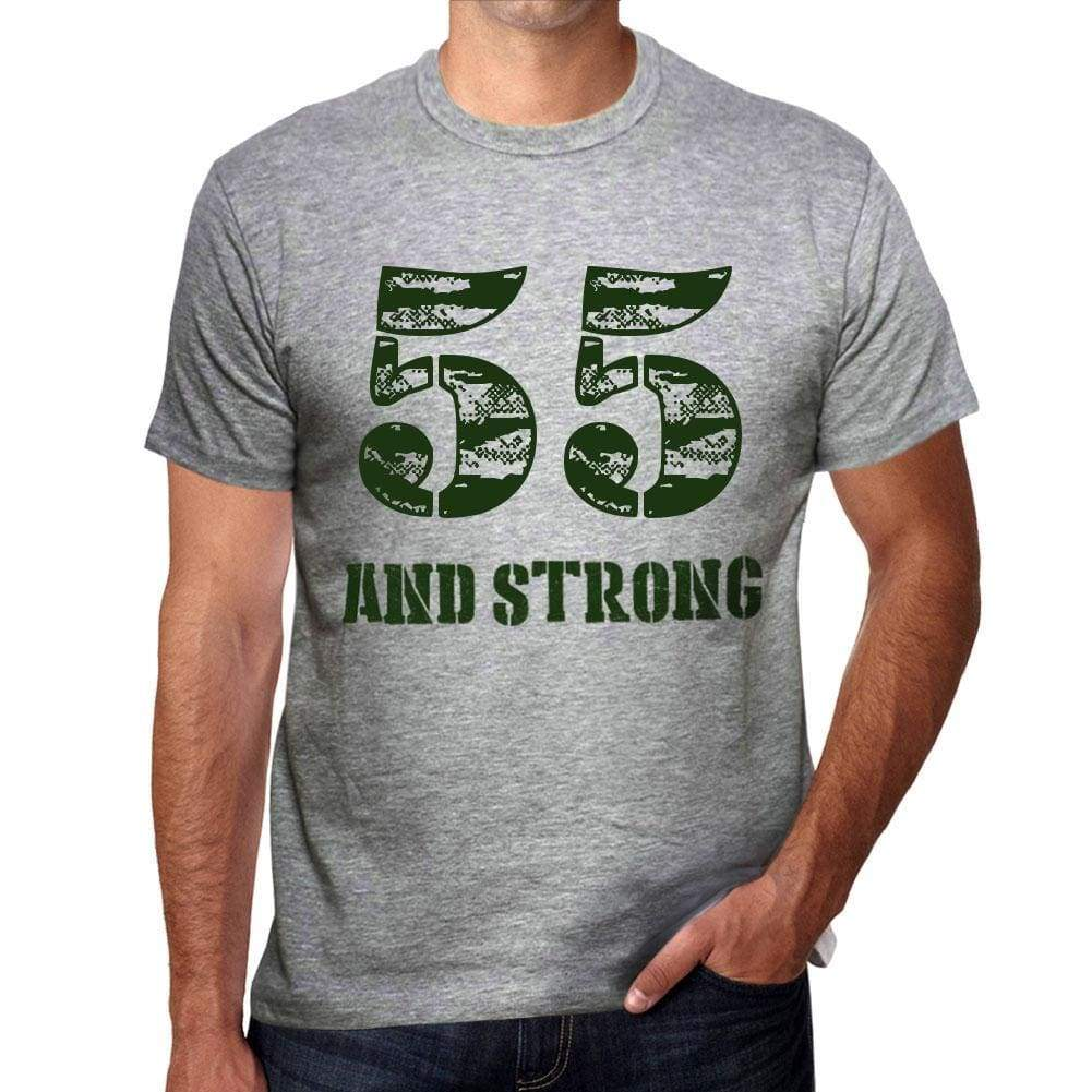 55 And Strong Men's T-shirt Grey Birthday