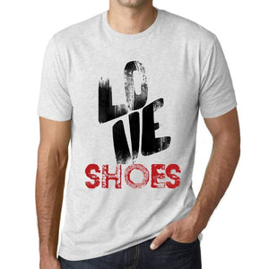 Ultrabasic - Homme T-Shirt Graphique Love Shoes Blanc Chiné