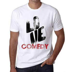 Ultrabasic - Homme T-Shirt Graphique Love Comedy Blanc