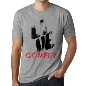 Ultrabasic - Homme T-Shirt Graphique Love Comedy Gris Chiné