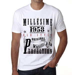 1958,birthday gifts for him,birthday t-shirts,<span>Men's</span> <span>Short Sleeve</span> <span>Round Neck</span> T-shirt , FR Vintage <span>White</span> <span>Men's</span> 00135