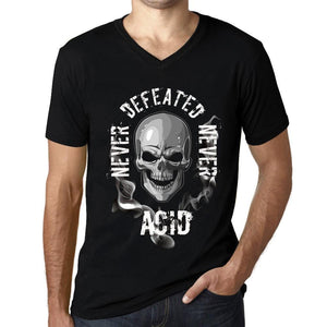 Men's Graphic V-Neck T-Shirt Never Defeated, Never ACID Deep Black - Ultrabasic