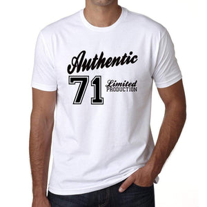 71 Authentic White Mens Short Sleeve Round Neck T-Shirt 00123 - White / L - Casual