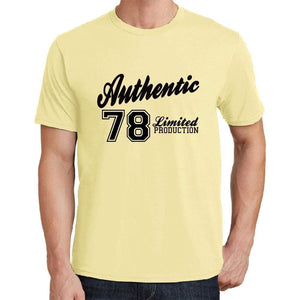 78 Authentic Yellow Mens Short Sleeve Round Neck T-Shirt - Yellow / S - Casual