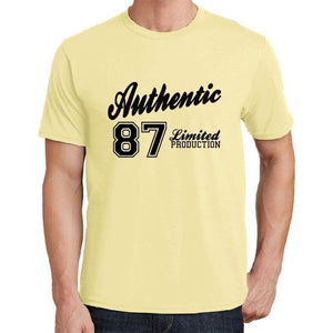87 Authentic Yellow Mens Short Sleeve Round Neck T-Shirt - Yellow / S - Casual