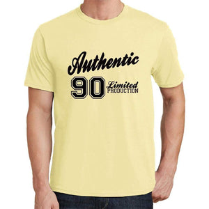 90 Authentic Yellow Mens Short Sleeve Round Neck T-Shirt - Yellow / S - Casual