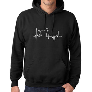 Printed Graphic Unisex Dog Lover Heartbeat Hoodie Casual Hooded Sweatshirt