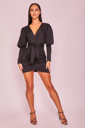 Black Balloon Sleeve Dress-Women's Clothing-Ultrabasic