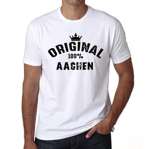 Aachen 100% German City White Mens Short Sleeve Round Neck T-Shirt 00001 - Casual