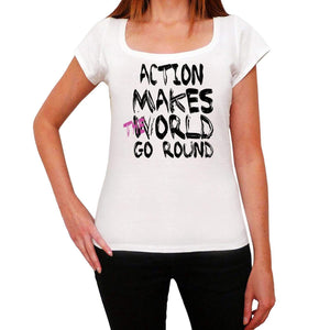 Action World Goes Round Womens Short Sleeve Round White T-Shirt 00083 - White / Xs - Casual