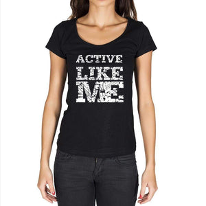 Active Like Me Black Womens Short Sleeve Round Neck T-Shirt 00054 - Black / Xs - Casual