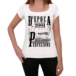 Aged To Perfection Italian 2001 White Womens Short Sleeve Round Neck T-Shirt Gift T-Shirt 00356 - White / Xs - Casual