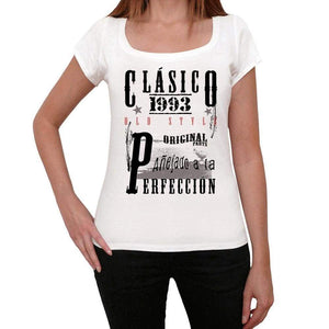 Aged To Perfection, Spanish, 1993, White, Women's Short Sleeve Round Neck T-shirt, gift t-shirt 00360 - Ultrabasic