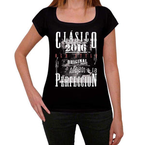 Aged To Perfection, Spanish, 2016, Black, Women's Short Sleeve Round Neck T-shirt, gift t-shirt 00358 - Ultrabasic