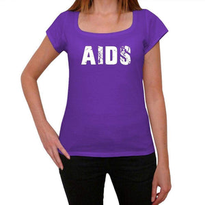 Aids Purple Womens Short Sleeve Round Neck T-Shirt 00041 - Purple / Xs - Casual