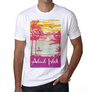 Alad Islet Escape To Paradise White Mens Short Sleeve Round Neck T-Shirt 00281 - White / S - Casual