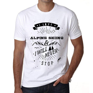 Alpine Skiing I Love Extreme Sport White Mens Short Sleeve Round Neck T-Shirt 00290 - White / S - Casual