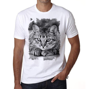 American Shorthair Cat Tshirt Mens Tee White 100% Cotton 00186