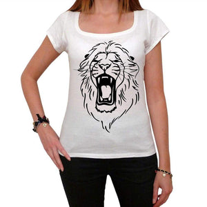 Angry Lion Head Tattoo Womens Short Sleeve Scoop Neck Tee 00161