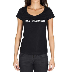 Bad Wildungen German Cities Black Womens Short Sleeve Round Neck T-Shirt 00002 - Casual