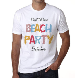 Baleshwar Beach Party White Mens Short Sleeve Round Neck T-Shirt 00279 - White / S - Casual
