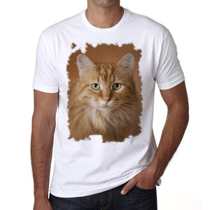 Beautiful Orange Cat Portrait Tshirt Mens Tee White 100% Cotton 00186