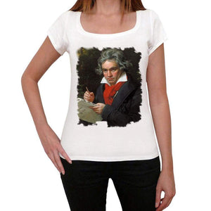 Beethoven Old Celebrities White Womens Short Sleeve Round Neck T-Shirt Gift 00312 - White / Xs - Casual